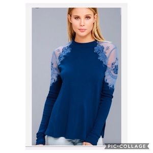 Free People Daniella Embroider Blue Lace Top